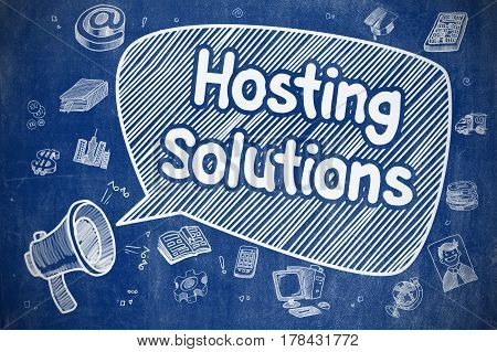 Yelling Horn Speaker with Phrase Hosting Solutions on Speech Bubble. Doodle Illustration. Business Concept.