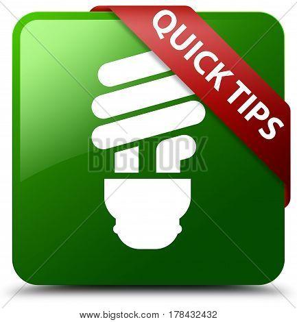 Quick Tips (bulb Icon) Green Square Button Red Ribbon In Corner