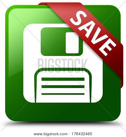Save (floppy Disk Icon) Green Square Button Red Ribbon In Corner