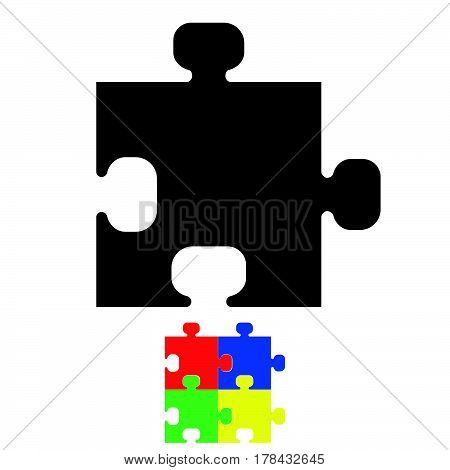 Black Jigsaw Or Puzzle Icon.
