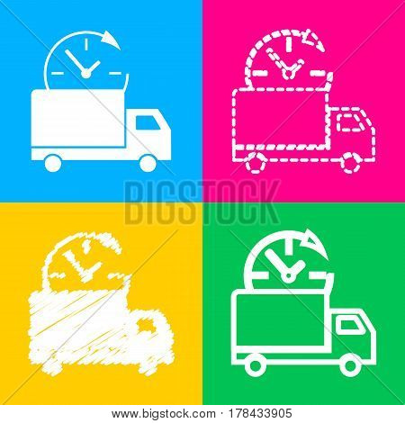 Delivery sign illustration. Four styles of icon on four color squares.