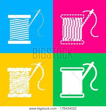 Thread with needle sign illustration. Four styles of icon on four color squares.