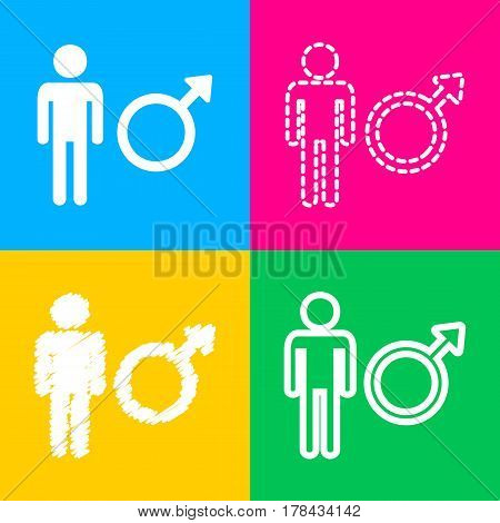 Male sign illustration. Four styles of icon on four color squares.