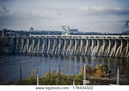 View of the hydroelectric power station on the Dnieper River