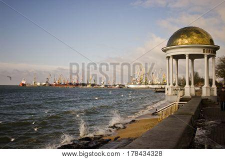 View of the sea port on the Azov Sea