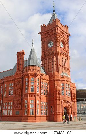 Historic Pierhead building in Cardiff Bay, Wales