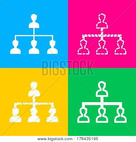 Social media marketing sign. Four styles of icon on four color squares.