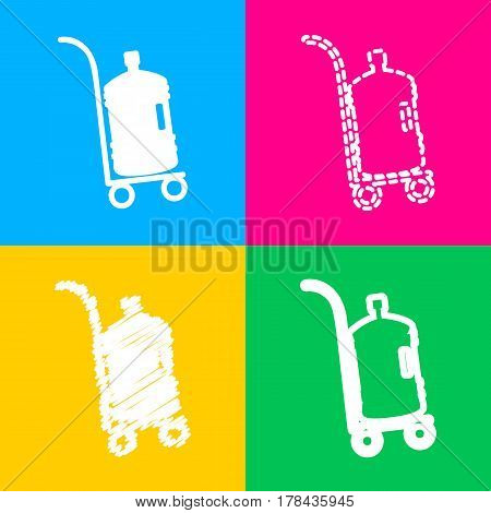 Plastic bottle silhouette with water. Big bottle of water on track. Four styles of icon on four color squares.