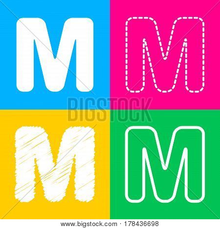 Letter M sign design template element. Four styles of icon on four color squares.