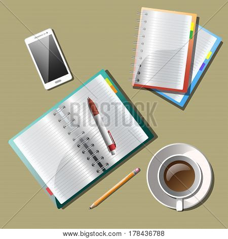 Business planning and organization paperwork. Top view checklist and notebook on table, vector illustration
