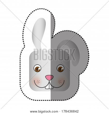 colorful face sticker of rabbit in square shape vector illustration