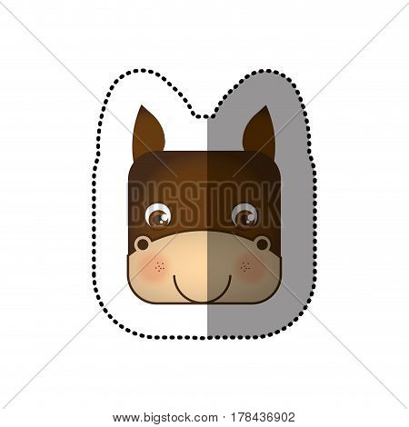 colorful face sticker of donkey in square shape vector illustration