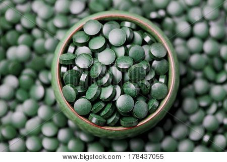lots of pills of spirulina - beauty treatment