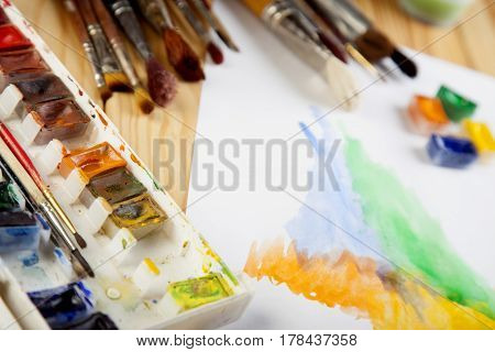 Paint brushes color painter work place photo