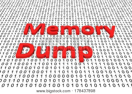 Memory Dump in a binary code 3D illustration