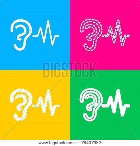 Ear hearing sound sign. Four styles of icon on four color squares.