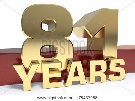 Golden digit eighty one and the word of the year. 3D illustration