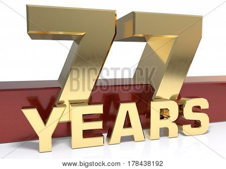 Golden digit seventy seven and the word of the year. 3D illustration