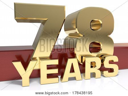 Golden digit seventy eight and the word of the year. 3D illustration