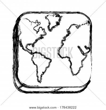 monochrome sketch of square button with map continents vector illustration