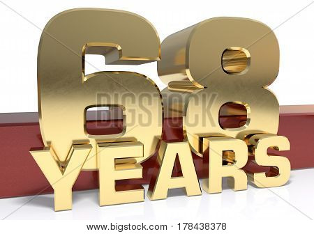 Golden digit sixty eight and the word of the year. 3D illustration
