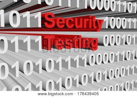 Security testing in the form of binary code, 3D illustration