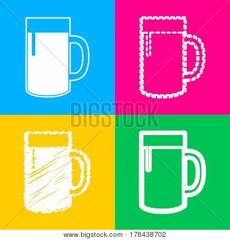 Beer glass sign. Four styles of icon on four color squares.