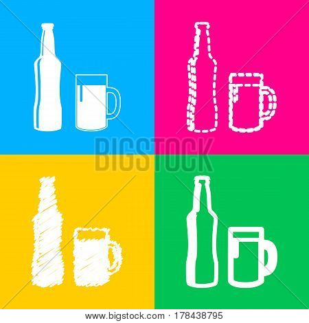 Beer bottle sign. Four styles of icon on four color squares.