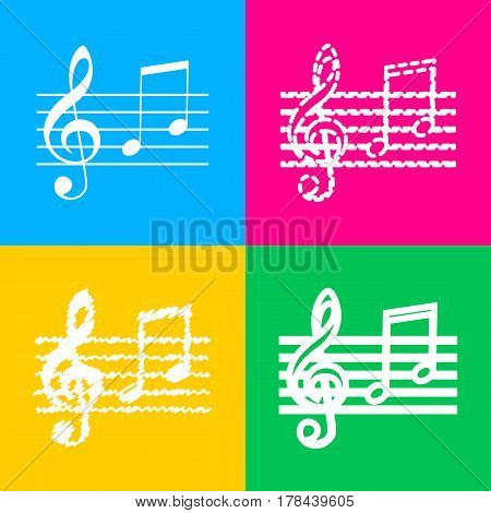 Music violin clef sign. G-clef and notes G, H. Four styles of icon on four color squares.