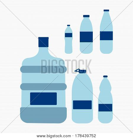 Plastic water bottle set Agua clean drink in plastic container - vector