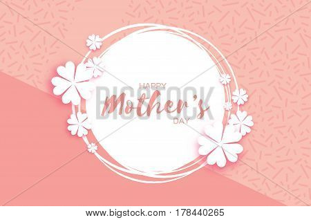 Pink Floral Greeting card. International Happy Mothers Day. Women's Day with Paper cut flower. Floral holiday. Beautiful bouquet. Circle frame. Vector illustration.