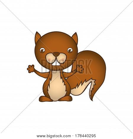 colorful caricature cute chipmunk animal rodent vector illustration
