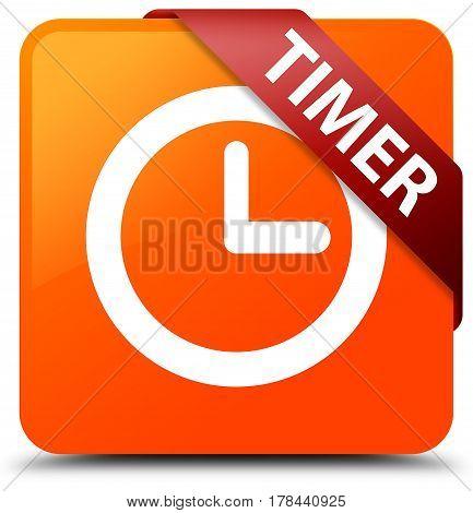 Timer Orange Square Button Red Ribbon In Corner