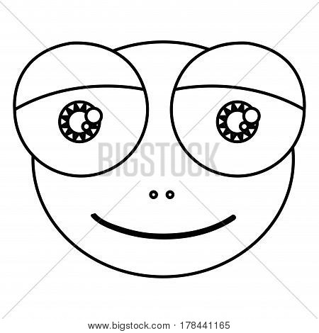 silhouette cartoon cute face toad amphibian with expressive eyes vector illustration
