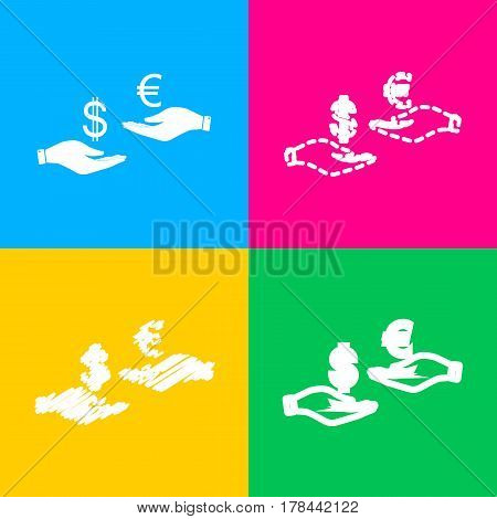 Currency exchange from hand to hand. Dollar adn Euro. Four styles of icon on four color squares.