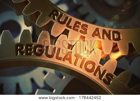 Rules And Regulations Golden Gears. Rules And Regulations on Mechanism of Golden Gears. 3D Rendering.