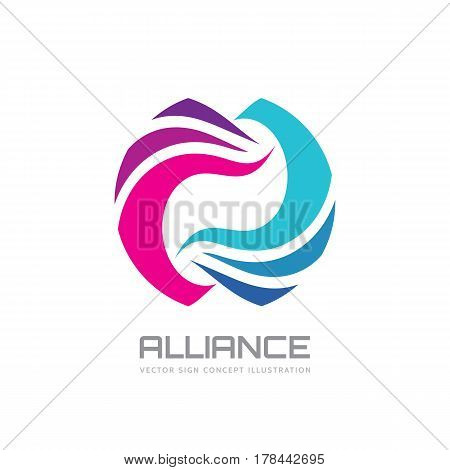 Alliance - vector logo template concept illustration. Colored abstract shapes. Geometric sign. Design elements.