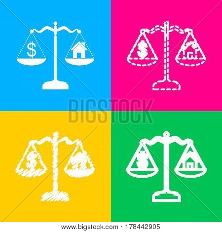 House and dollar symbol on scales. Four styles of icon on four color squares.