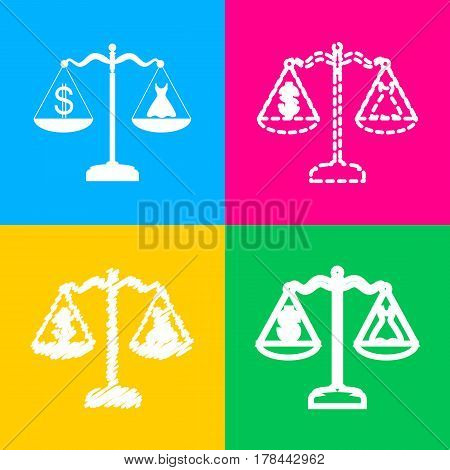 Dress and dollar symbol on scales. Four styles of icon on four color squares.
