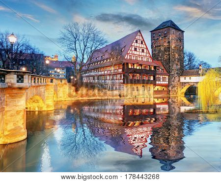 Nuremberg town - The riverside of Pegnitz river Germany