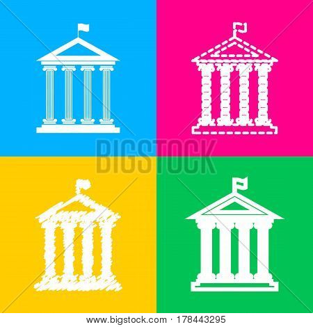 Historical building with flag. Four styles of icon on four color squares.