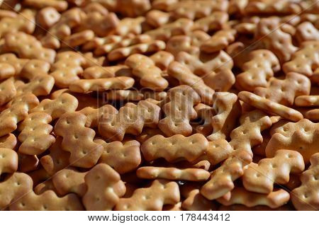 Pattern Of A Many Yellow Salted Crackers