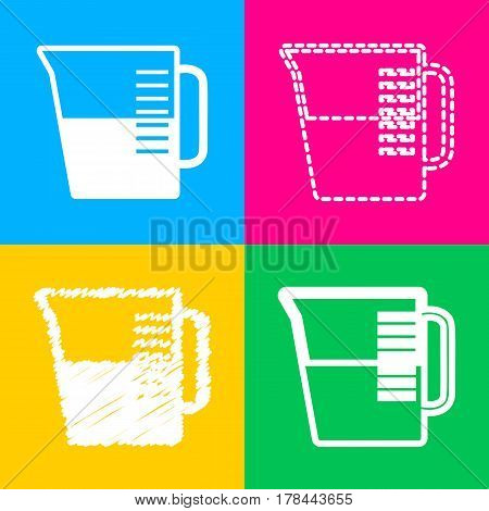 Beaker sign. Four styles of icon on four color squares.