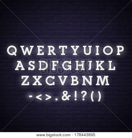 Neon Alphabet. Neon lettering. Vector set. Nigth lettering.