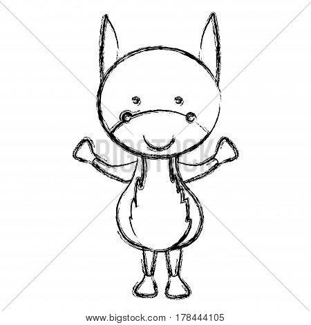 blurred silhouette caricature cute donkey animal farm icon vector illustration