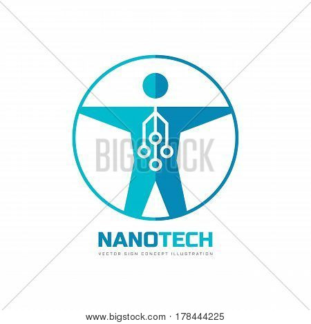 Nanotech - vector logo template concept illustration. Human nano technology creative sign. Electronic computer network and chip. Design element.