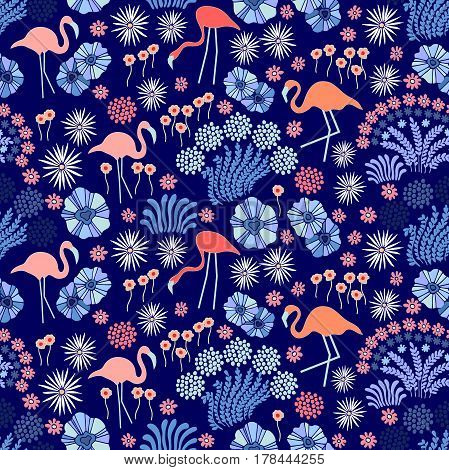 Fantasy floral print with wildflowers and flamingo.