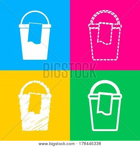 Bucket and a rag sign. Four styles of icon on four color squares.