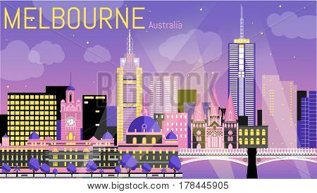 Melbourne city flat vector illustration. Vector landscape on Yarra river bank. Night view with Flinders street station, St Paul's Cathedral, Princes Bridge. Travel picture. Poster ad design. Post card template.
