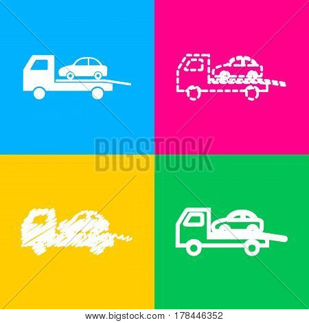 Tow car evacuation sign. Four styles of icon on four color squares.